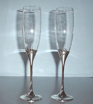 Waterford Ballet Ribbon Toasting Flute Pair Crystal & Silverplate Stem New  - $38.90