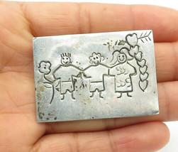 925 Sterling Silver - Vintage Etched Children Holding Hands Brooch Pin -... - $31.89