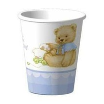 Sweet Bear Blue Baby Shower 9 oz Paper Cups 8 Per Package Party Supplies - $2.23