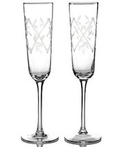Martha Stewart Collection Glassware, Set of 2 Petal Trellis Toasting Flutes - $23.36