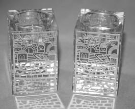 Judaica Crystal Candle Holders Candlesticks Shabbat Silver Plaque Jerusalem image 3
