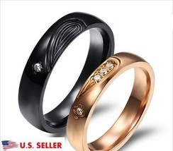 2 PCS Heart Shape Stainless Steel Couple Ring Promise Wedding Matching R... - $400,60 MXN