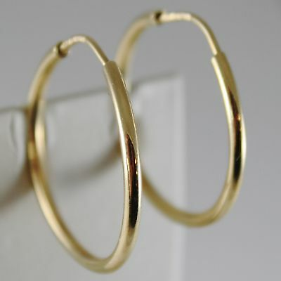 18K YELLOW GOLD EARRINGS CIRCLE HOOP 30 MM 1.18 INCHES DIAMETER MADE IN ITALY