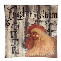 Primitive Country FRESH EGGS & HAM WOODEN PLATE Chicken Rooster Farmhous... - $48.99