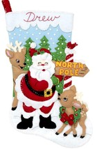 Bucilla North Pole Santa Deer Snow Bird Christmas Eve Felt Stocking Kit 89228E - $36.95