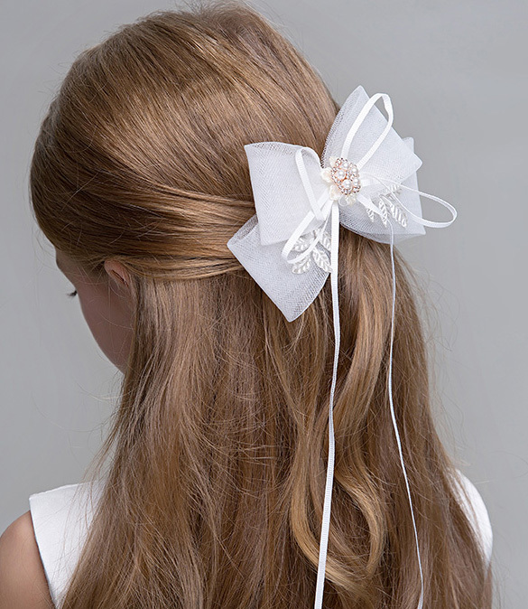 Cute Girl Bow Tie Hair Clip Hairpin White Wedding Flower Girl Hair Accessories