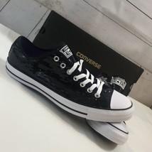3bb5bfc6fd30 Converse CT All Star OX Black Sequin Sneaker Unisex Sz W 13 M 11 -
