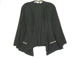 Chico's 2 Black Rayon Draped Front Collar 3/4 Sleeve Zipper Front Pocket... - $18.02