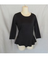Ann Taylor top peplum scoop neck  Small  black  3/4 sleeves semi-fitted - $14.65