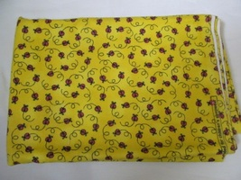 Flannel Sunny Yellow & Red Lady Bug Quilting Fabric JoAnn Fabrics 1.5 Yards - $15.90
