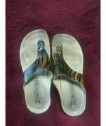 Mephisto Gold Brown Animal Print Strappy Sandals Size 37 - $30.49