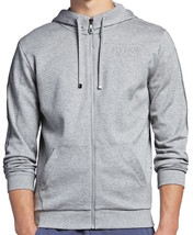 Hugo Boss Men's Premium Zip Up Sport Hoodie Sweatshirt Jacket Gray 50290162