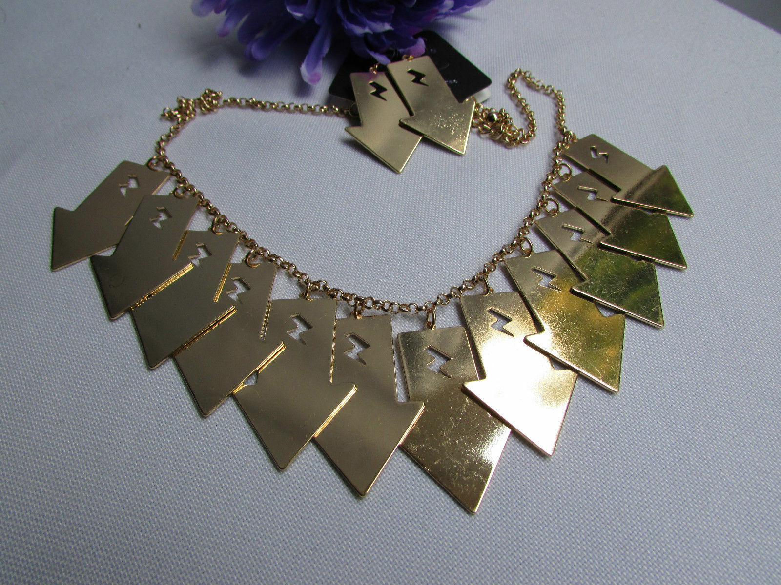 Mujer Sexy Metal Dorado Lightning Flechas Encanto Moda Joyería Collar Set image 4