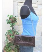 Vintage Snakeskin Purse Clutch Bags by Supreme Brown Gold Chain Shoulder... - $37.99