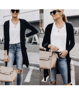 Black pocketed knit open front cardigan sweater - $29.99