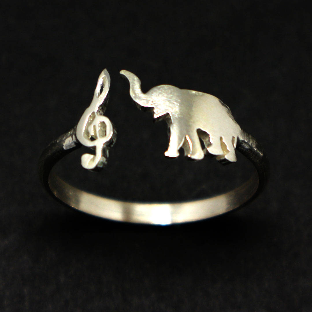 Handmade 925 Sterling Silver Animal Treble Clef Music and Elephant Ring Jewelry