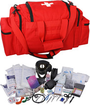 Red 200 Pcs Emergency Medical Trauma Kit Carry Bag & First Aid Supplies ... - $192.99