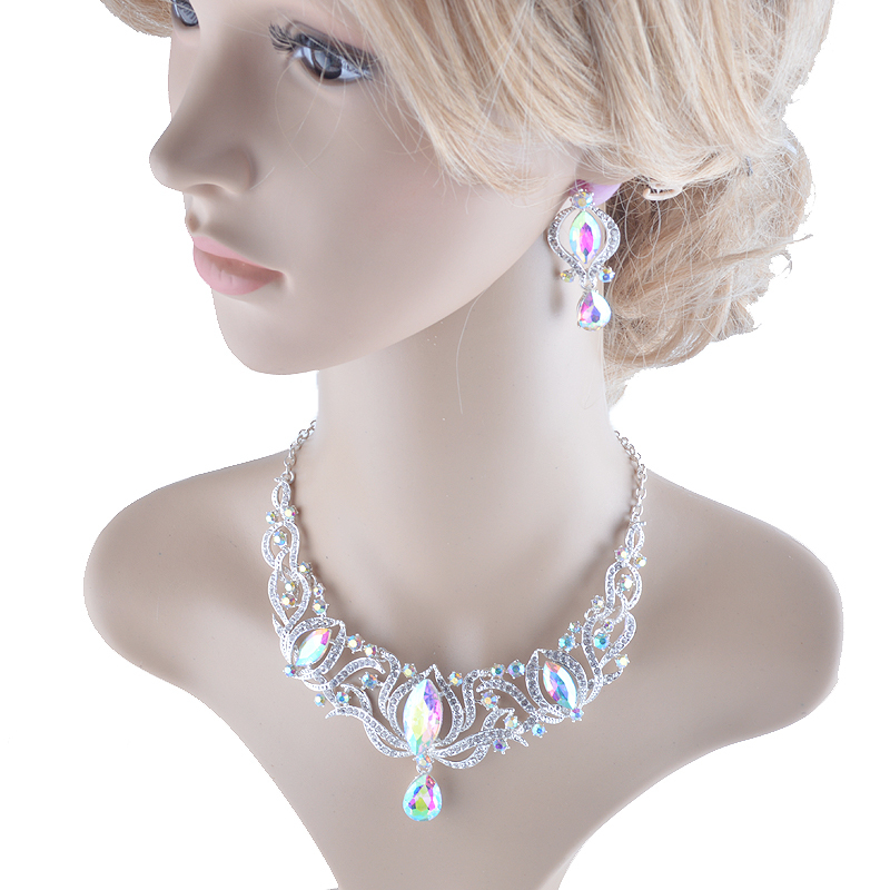 High quality india style silver Jewelry sets bridal necklace earrings set women  image 2