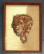 Vintage Handmade Red Copper Lion Head Wood Fram... - $49.95