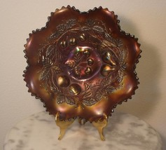 Northwood Three Fruits Purple Carnival Glass Smoke Iridized Ruffled Bowl - $233.75
