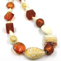 NECKLACE ORANGE WHITE SPHERE SQUARE DROP MURANO GLASS GOLD LEAF SPIRAL ITALY image 2