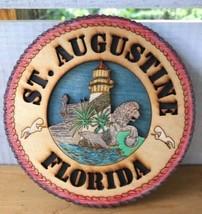 Handcrafted Nautical St Augustine Florida Souvenir Trivet Wood Burned Sc... - $19.49