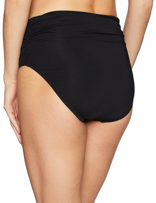 Coco Reef CASTAWAY BLACK Classic Solid Fold-Over Bikini Swim Bottom, US Medium