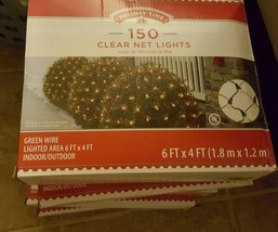 (5) boxes of Holiday Time 150 Clear Net Lights - green wire 6 ft x 4 ft - $48.37