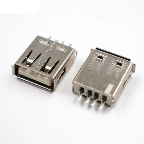 USB 2.0 TIPO A Hembra 4 Polig para el lötmontage / soldable Recto Negro X303