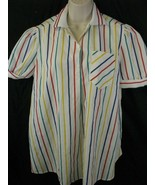 Rainbow stripe Collared Womens Blouse Top Oui III Oui III Oui III Size 10 - $18.80