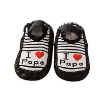 Love PaPa Letter Pattern Black Strip Newborn Babies Socks, Short
