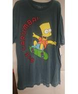 THE SIMPSONS Skating Bart Simpson Aye Carumba Men's T-Shirt Size XL Gray - $10.68