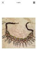 beaded leaf motif necklace bohemian jewelry - $24.99