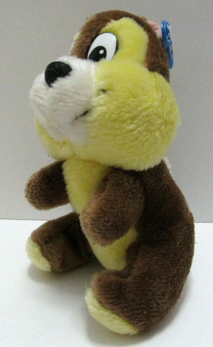 "Vintage Original Disney Chip 6"" Plush Stuffed Chipmunk Disney Parks w/ tag Korea"