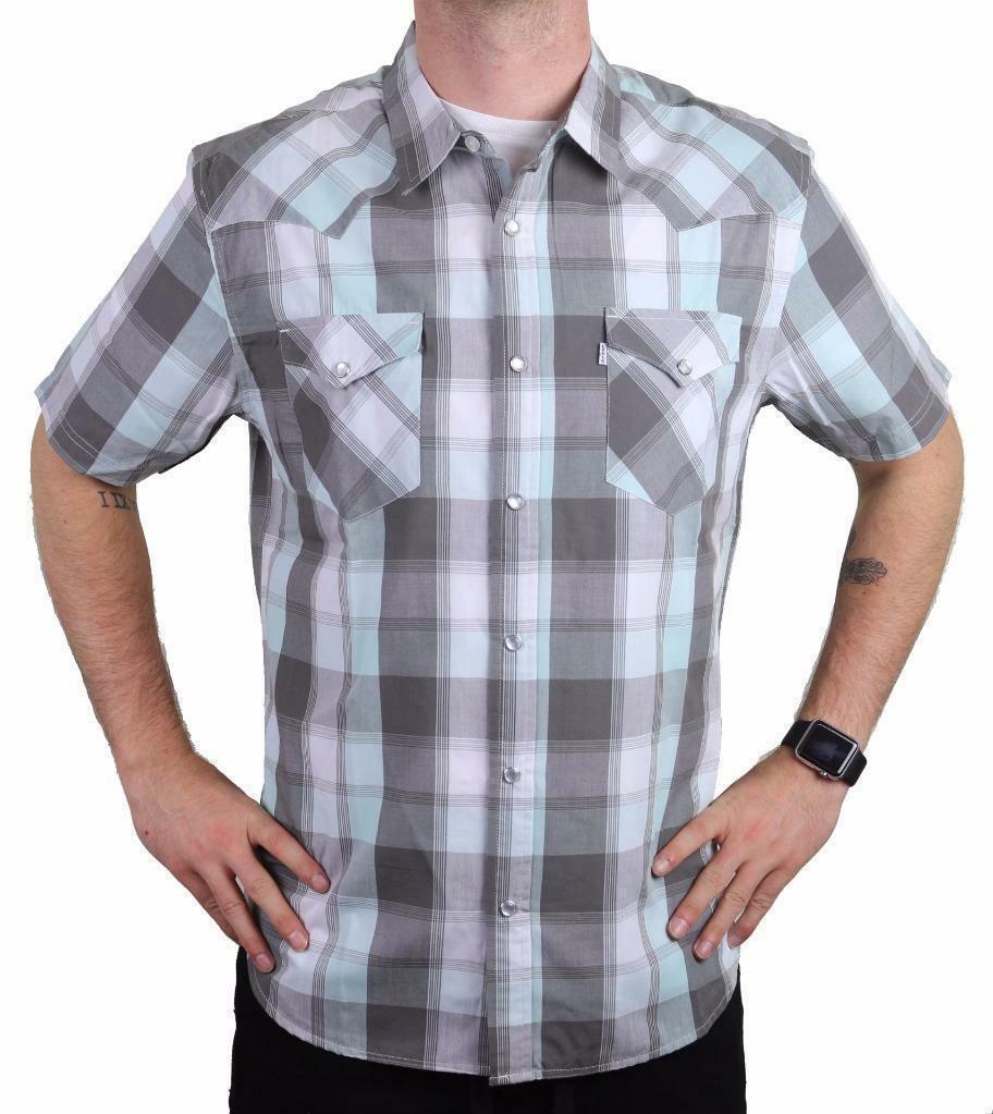 Levi's Men's Cotton Casual Button Up Short Sleeve Shirt Plaid Gray 3LYLW6082