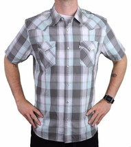 Levi's Men's Cotton Casual Button Up Short Sleeve Shirt Plaid Gray 3LYLW6082