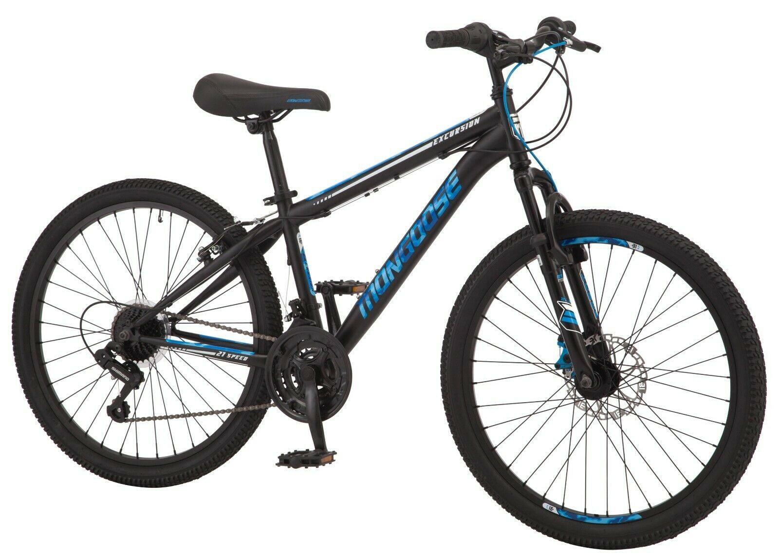 "24"" Boy's Excursion Mountain Bike w/Front Suspension & Disc Brakes, Blue Accents - $242.45"