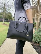 NWT Michael Kors Camille Large Satchel Leather Crossbody Bag Black - $125.94