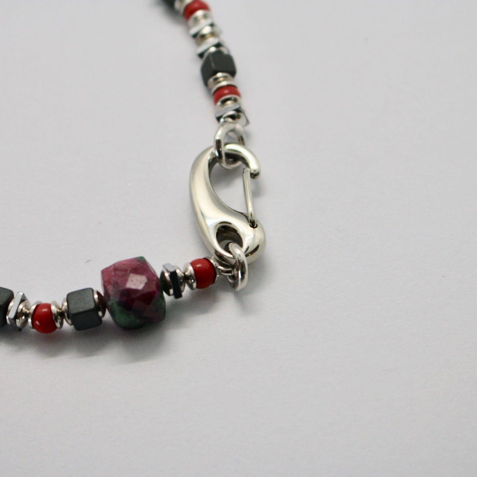 Bracelet en Argent 925 Rubis Zoïsite Corail Bpan-13 Made IN Italy By Maschia