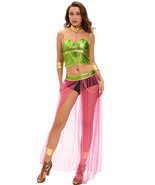 Green Pink 6pcs Slave Princess Costume  - $24.86