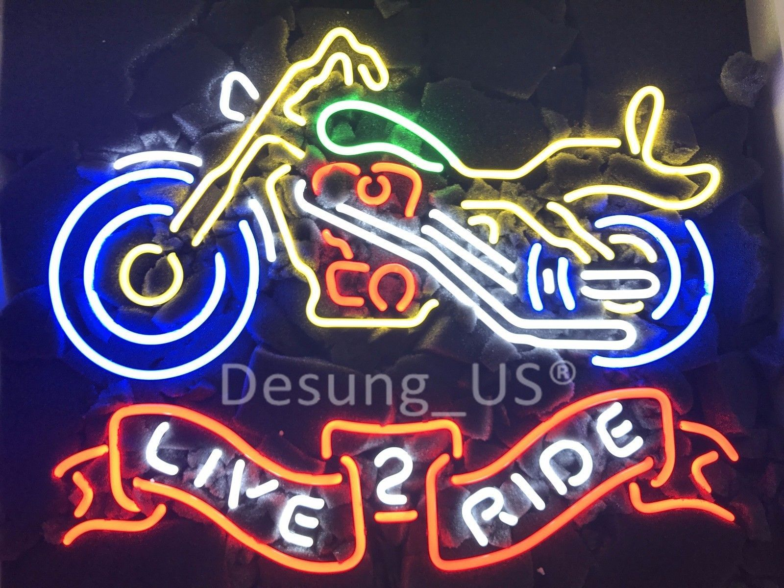 """New Live2ride Motorcycles Motor Real Glass Neon Sign 24""""x20"""""""