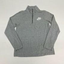 Nike Quarter Zip Jacket Youth Large Long Sleeve Gray Mock Neck 100% Cotton - $17.99