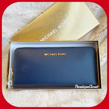 MICHAEL KORS GIFTABLES IN BOX LG ZIP AROUND CONTINENTAL WALLET NAVY - £37.20 GBP