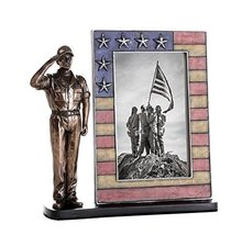US Coast Guard Cold Cast Bronze Coast Guard Salute Stars and Stripes Honoring Am - $49.49