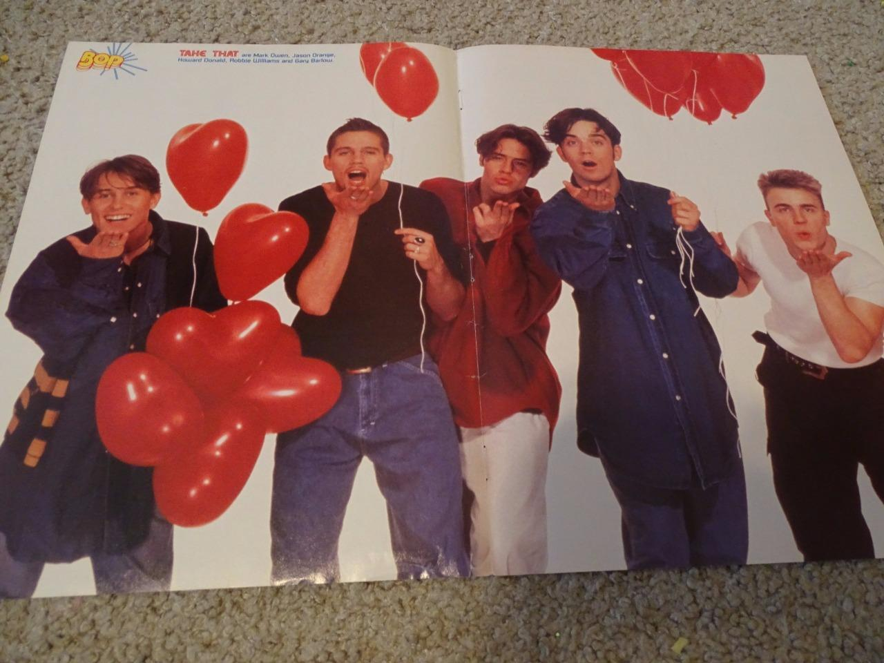 Take That teen magazine poster clipping Robbie Williams Mark Owen Bop Teen Beat