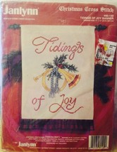 "11"" x 14""  Christmas Cross Stitch Kit Tidings of Joy Banner Janlynn 80-1... - $9.89"