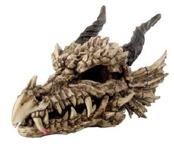 """Large 27"""" Long Dragon Fossil Skull With Horns Mighty Grendel Resin Home ... - $160.38"""