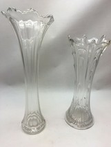 2 pc. Vintage Clear Glass vases Ripple  Bud Carnival Mid Century Waterfall - $34.64