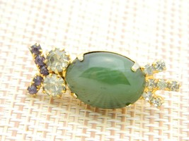 Green Agate Rhinestone Owl Gold Tone Pin Brooch Vintage image 2