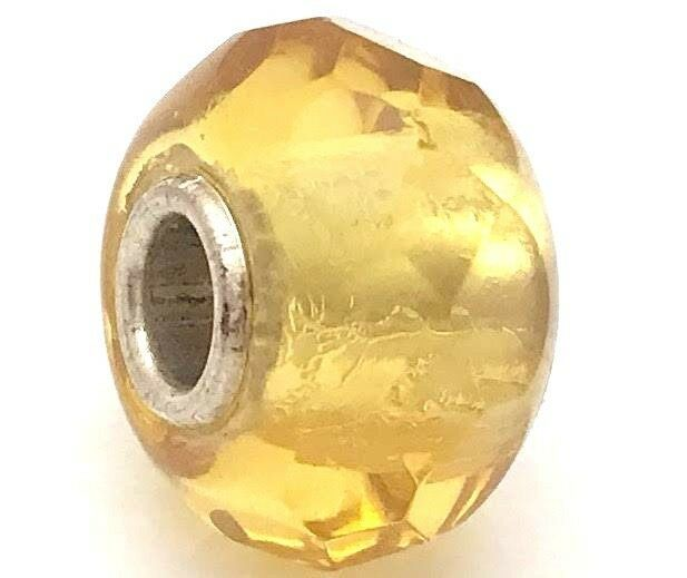 Primary image for Authentic Trollbeads Yellow Prism Charm Bead 60189, New